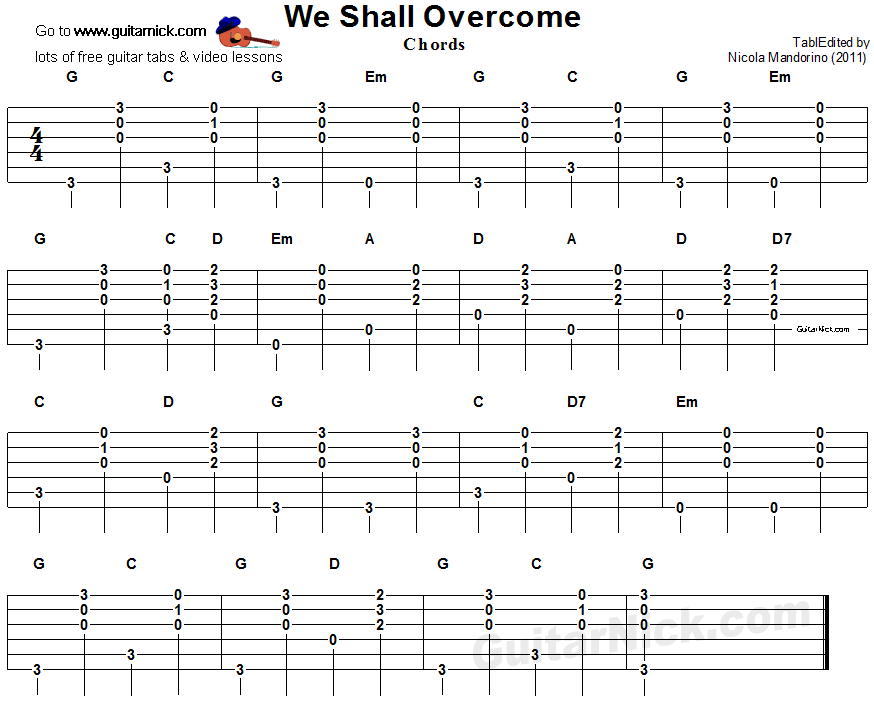 We Shall Overcome - guitar chords tab