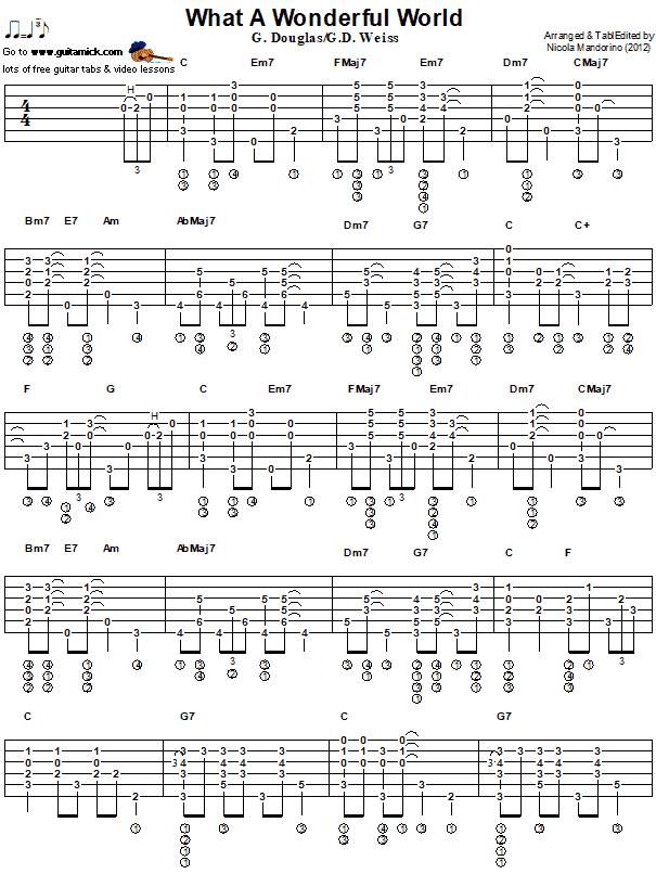 WHAT A WONDERFUL WORLD: Jazz Guitar Tab - GuitarNick.com | 605 x 806 png 15kB
