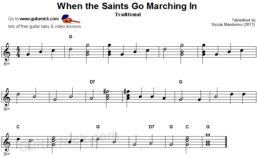 When The Saints Go Marching In - easy guitar sheet music