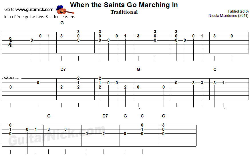 When The Saints Go Marching In - easy guitar tab