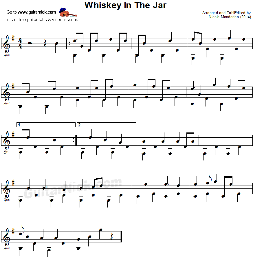 Whiskey In The Jar - fingerpicking guitar sheet music