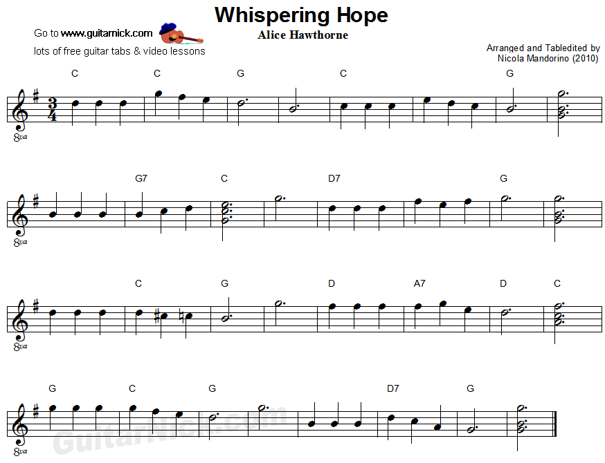 Whispering Hope - easy guitar sheet music
