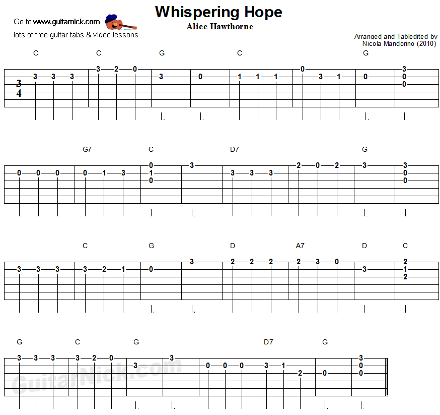 Whispering Hope - easy guitar tablature