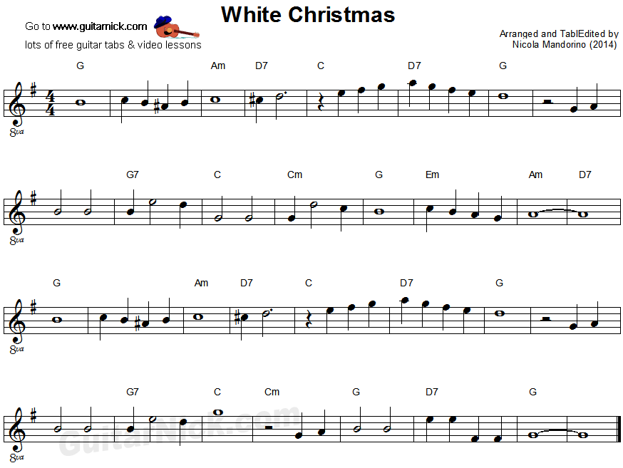 White Christmas - easy guitar sheet music