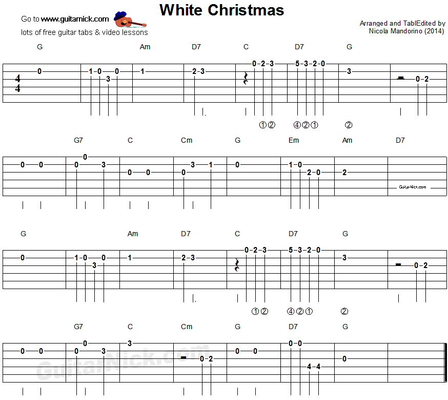 WHITE CHRISTMAS Easy Guitar TAB: GuitarNick.com