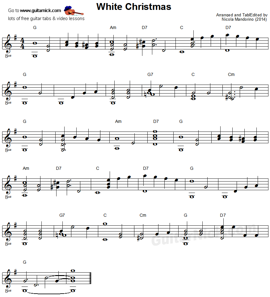Christmas Guitar Tabs Fingerstyle.White Christmas Fingerstyle Guitar Lesson Guitarnick Com
