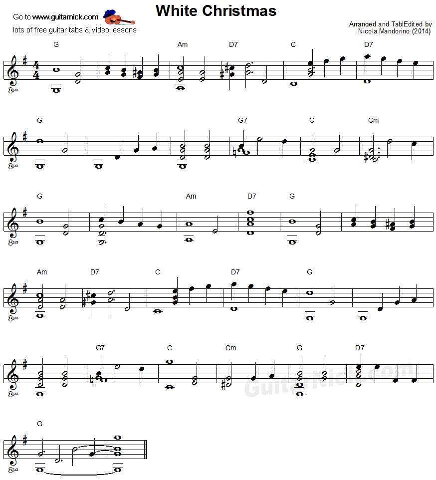 Christmas Guitar Tabs.White Christmas Fingerstyle Guitar Lesson Guitarnick Com