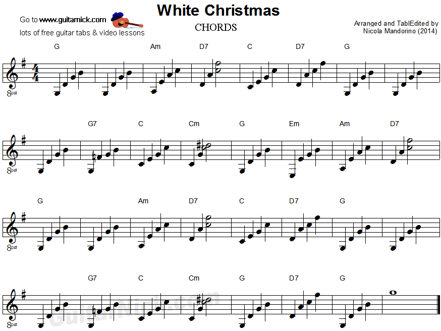 WHITE CHRISTMAS Guitar Chords Sheet Music: GuitarNick.com