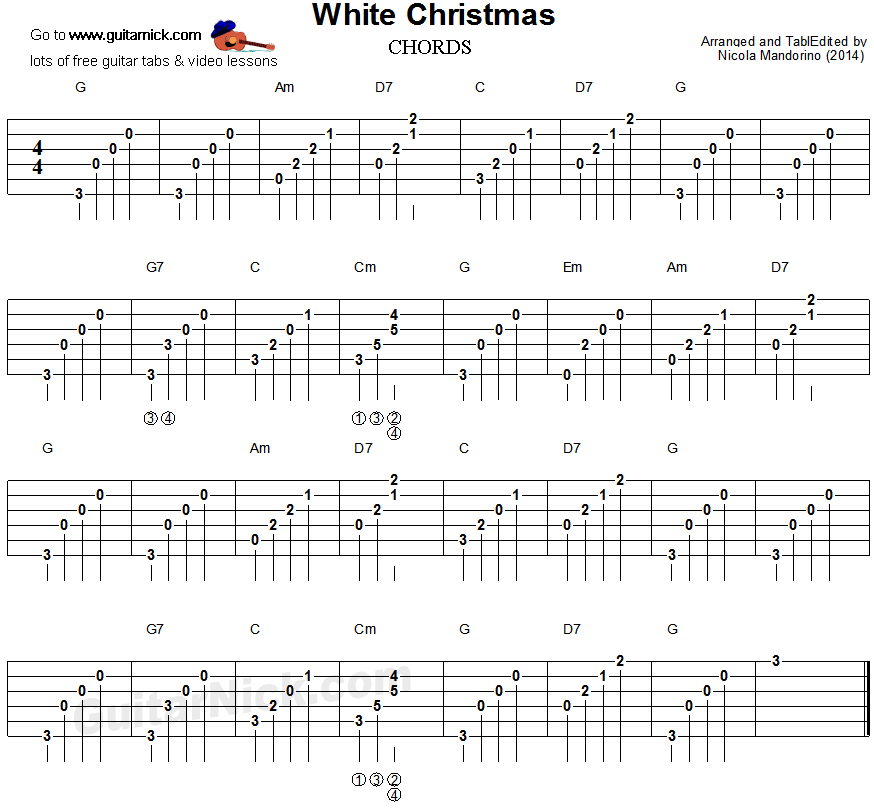 WHITE CHRISTMAS Guitar Chords Tab: GuitarNick.com