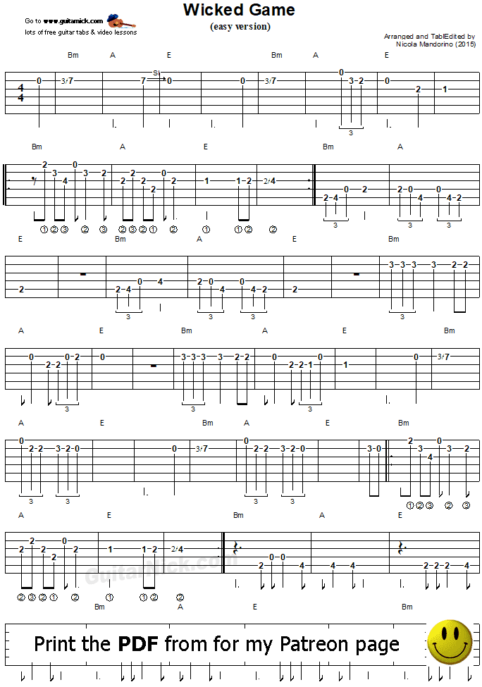 WICKED GAME - PDF guitar tab