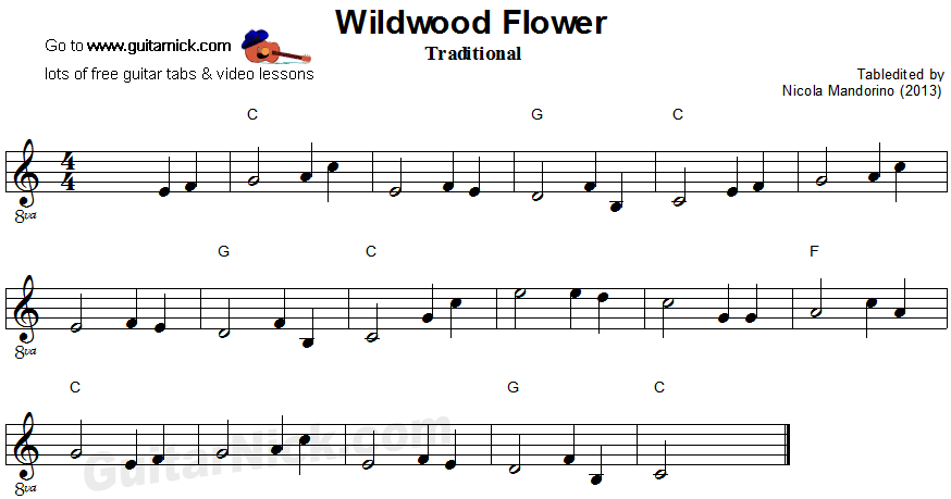 Willdwood Flower - easy guitar sheet music