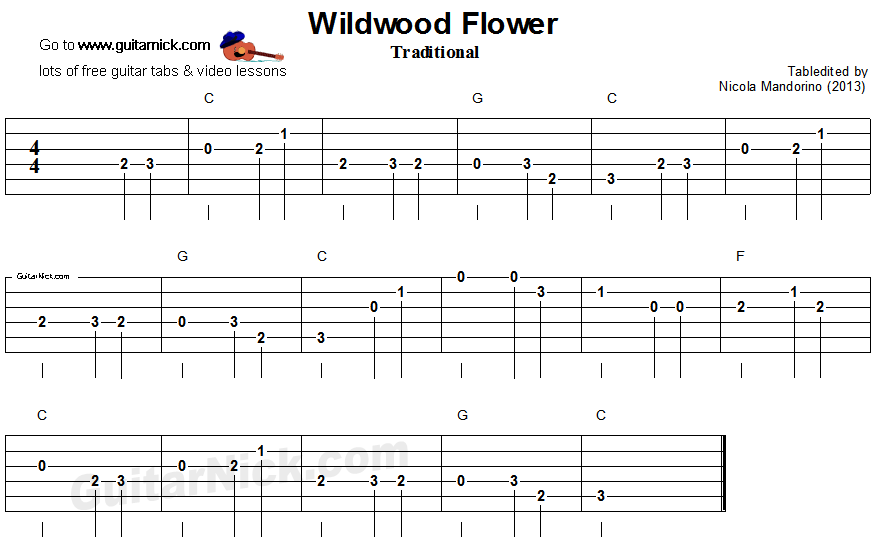 Guitar what is guitar tablature : WILDWOOD FLOWER Easy Guitar Lesson: GuitarNick.com
