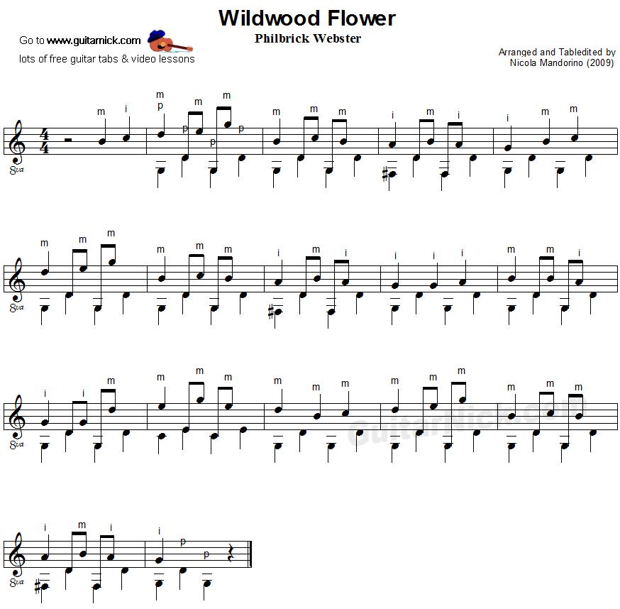WILDWOOD FLOWER Fingerpicking Guitar Lesson: GuitarNick.com
