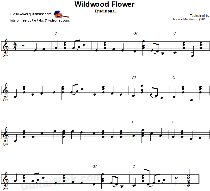 Wildwood Flower - flatpicking guitar sheet music