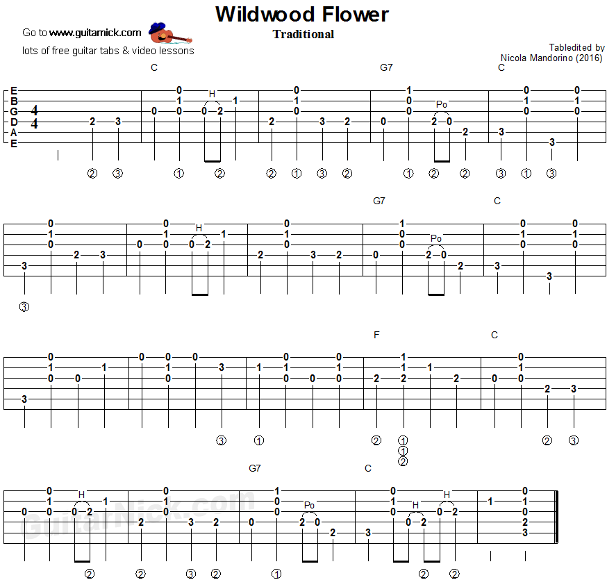 Wildwood Flower - flatpicking guitar tablature