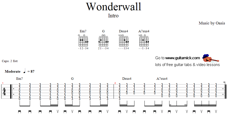 Très Wonderwall: guitar tab - GuitarNick.com SJ37