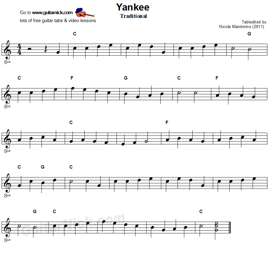 YANKEE DOODLE Easy Guitar Lesson: GuitarNick.com