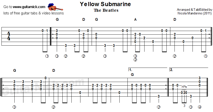 Guitar yellow guitar chords : YELLOW SUBMARINE Flatpicking Guitar TAB: GuitarNick.com