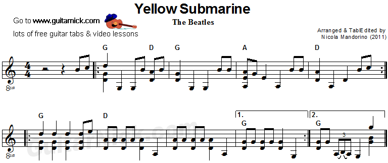 Yellow Submarine - acoustic guitar sheet music