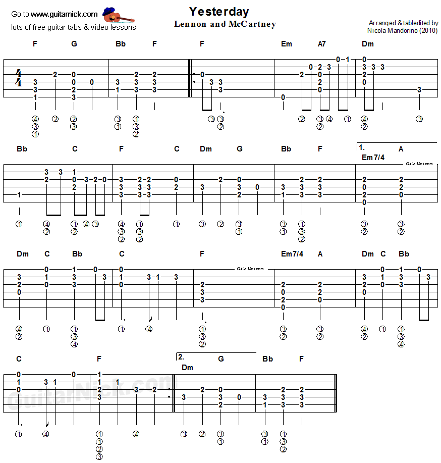 Guitar Chord Tabs: YESTERDAY Flatpicking Guitar TAB: GuitarNick.com