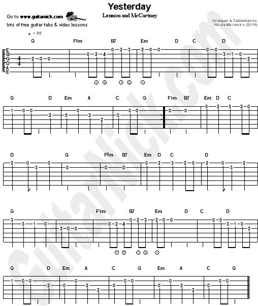 Yesterday (The Beatles) Easy Guitar Tab PDF - GuitarNick.com