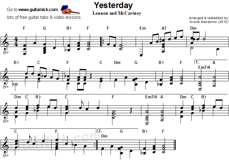 Yesterday - acoustic guitar sheet music