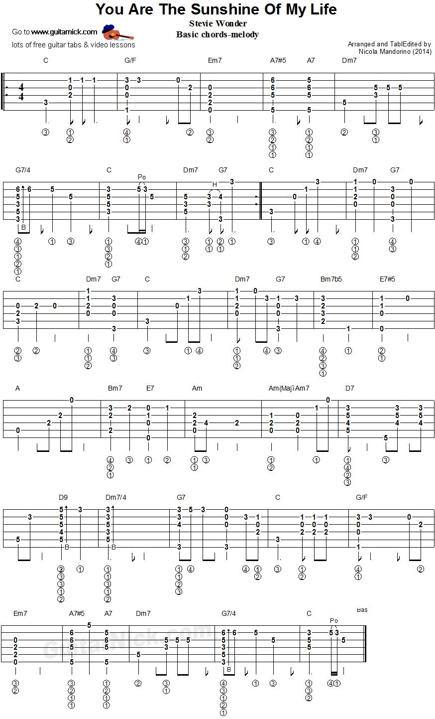 You Are The Sushine Of My Life - chords melody gutar tablature