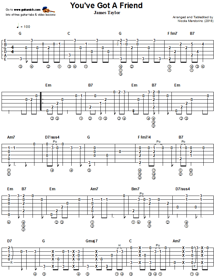 You've Got A Friend - Fingerstyle Guitar Tab 1